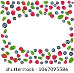 fresh berry mix pattern. fresh  ... | Shutterstock . vector #1067095586