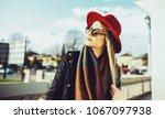 young beautiful woman posing... | Shutterstock . vector #1067097938