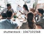 team of innovators. top view of ... | Shutterstock . vector #1067101568