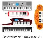 keyboard musical instruments...   Shutterstock .eps vector #1067105192