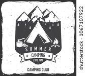 summer camping badge. vector... | Shutterstock .eps vector #1067107922