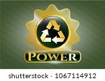 shiny emblem with recycle... | Shutterstock .eps vector #1067114912