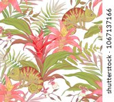 seamless pattern with chameleon ... | Shutterstock .eps vector #1067137166