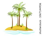 illustration of a palm tree on... | Shutterstock .eps vector #1067144936