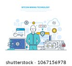 bitcoin mining technology ... | Shutterstock .eps vector #1067156978