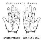 chiromancy hands. palmistry... | Shutterstock .eps vector #1067157152