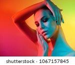 high fashion model woman in... | Shutterstock . vector #1067157845