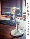 vintage microphone in a... | Shutterstock . vector #1067158502