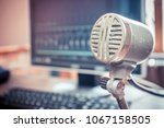 vintage microphone in a... | Shutterstock . vector #1067158505