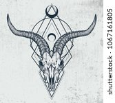 goat skull in ink graphic... | Shutterstock .eps vector #1067161805