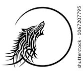 wolf tattoo tribal art design... | Shutterstock .eps vector #1067207795