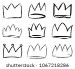set of black hand drawn crowns. ... | Shutterstock .eps vector #1067218286