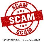 scam round red grunge stamp | Shutterstock .eps vector #1067233835
