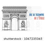 beautiful arc de triomphe de l' ... | Shutterstock .eps vector #1067235365