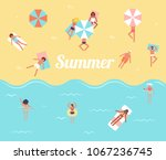 people in the sea. men and... | Shutterstock .eps vector #1067236745