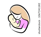 mother and baby stylized vector ... | Shutterstock .eps vector #1067241182