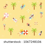 people bathing in the sun ... | Shutterstock .eps vector #1067248106