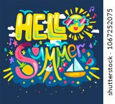 hello summer concept with... | Shutterstock .eps vector #1067252075