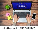 woman using a computer with... | Shutterstock . vector #1067280092