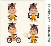 set of funny horse sportsman is ... | Shutterstock .eps vector #1067282498