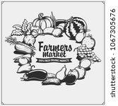 farmers market emblem. organic...   Shutterstock .eps vector #1067305676