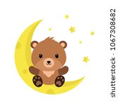cute cartoon teddy bear on the... | Shutterstock .eps vector #1067308682