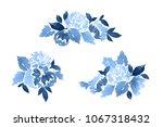 watercolor set of dahlia... | Shutterstock . vector #1067318432