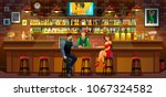 the girl and the man in the bar | Shutterstock .eps vector #1067324582
