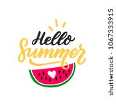 hand drawn lettering heo summer ... | Shutterstock .eps vector #1067333915
