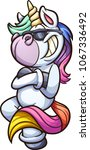 cool cartoon unicorn with... | Shutterstock .eps vector #1067336492