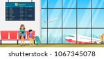 airport waiting room or... | Shutterstock .eps vector #1067345078