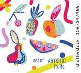 set of artistic fruits...   Shutterstock .eps vector #1067347466