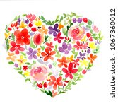 watercolor heart with flowers... | Shutterstock . vector #1067360012