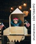 boy play with rocket  cosmonaut ... | Shutterstock . vector #1067366492