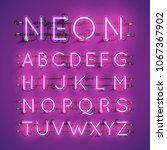 realistic neon font with wires... | Shutterstock .eps vector #1067367902
