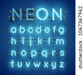 realistic neon font with wires... | Shutterstock .eps vector #1067367962