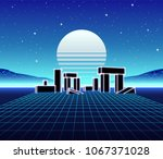 neon grid landscape with 80s... | Shutterstock .eps vector #1067371028
