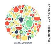 fruits vegetables flat... | Shutterstock .eps vector #1067378108