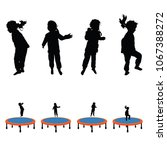 child jumping on tramboline... | Shutterstock .eps vector #1067388272