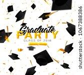 graduate caps and confetti on a ... | Shutterstock . vector #1067388386