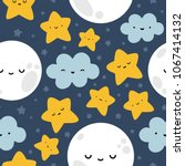 moon  cloud and stars cute... | Shutterstock .eps vector #1067414132