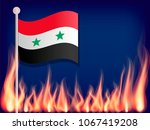 flag of syria on the flagstaff. ...   Shutterstock .eps vector #1067419208