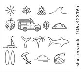 summer icon set in modern line... | Shutterstock .eps vector #1067423195