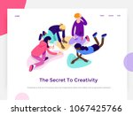 People work in a team and achieve a goal. Creative process and brainstorming. Landing page template. 3d vector isometric illustration. | Shutterstock vector #1067425766