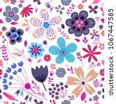 amazing floral vector seamless...   Shutterstock .eps vector #1067447585