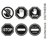 stop signs collection in black... | Shutterstock . vector #1067448548