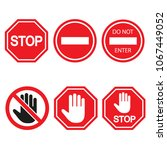 stop sign set  isolated on... | Shutterstock . vector #1067449052