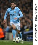 Small photo of MANCHESTER, ENGLAND - APRIL 10: Bernardo Silva during the Champions League quarter final match between Manchester City and Liverpool at the Etihad Stadium on April 10, 2018