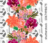 seamless pattern with beautiful ... | Shutterstock .eps vector #1067498675