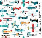 airplanes boys seamless pattern | Shutterstock .eps vector #1067513912